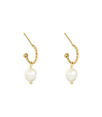 Gold Pearl Party Earrings