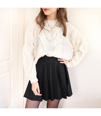 Leighton Pleated Glitter Skirt / Black