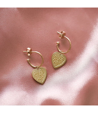Gold Leo Heart Open Earrings
