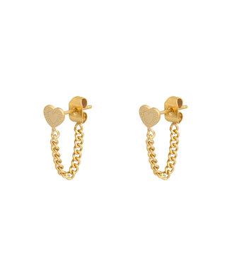 Gold Heart Chain Earrings