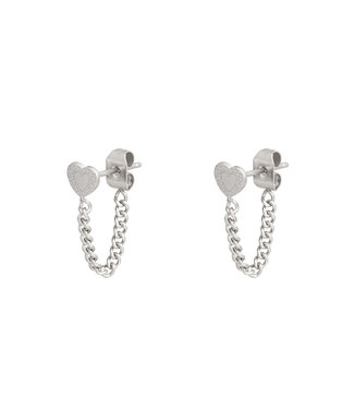 Silver Heart Chain Earrings