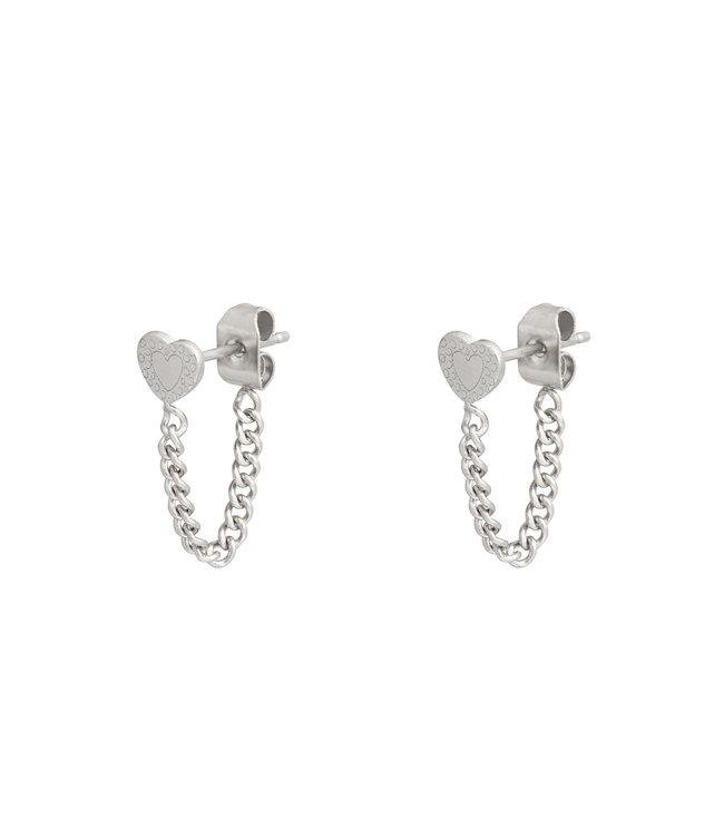 Silver Heart Chain Earrings