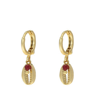 Gold Bead Shell Earrings