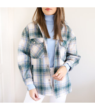 Maia Checkered Blouse Jacket / Green