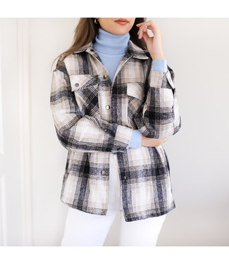 Maia Checkered Blouse Jacket / Black
