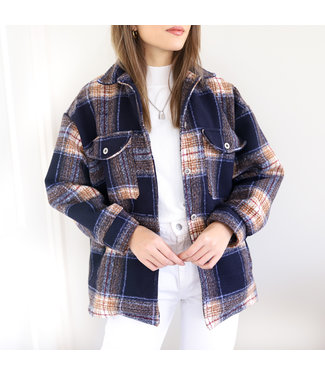 Zion Checkered Blouse Jacket / Navy