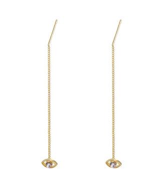 Gold Eye Dangle Earrings