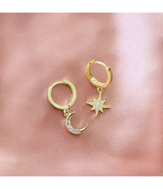 Gold Moon + Star Earrings