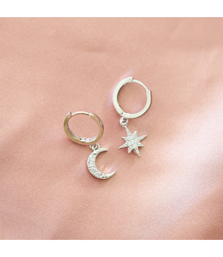 Silver Moon + Star Earrings