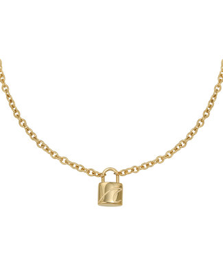 Gold Wave Lock Necklace