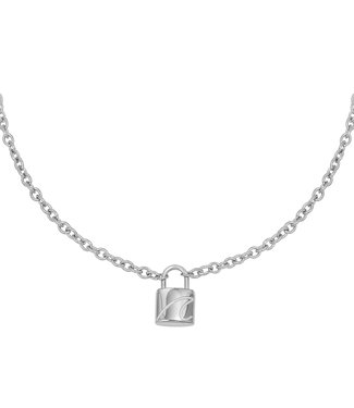 Silver Wave Lock Necklace