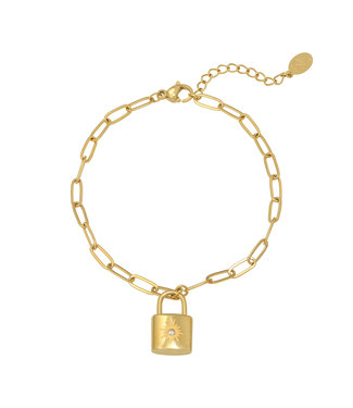 Gold Sparkle Lock Bracelet