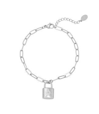 Silver Sparkle Lock Bracelet