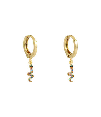 Gold Colourful Snake Earrings