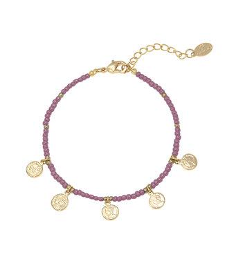 Spiritual Beads Coin Bracelet / Purple