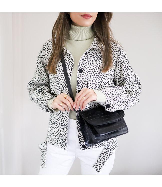 Alexis Printed Cheetah Jacket / Ecru