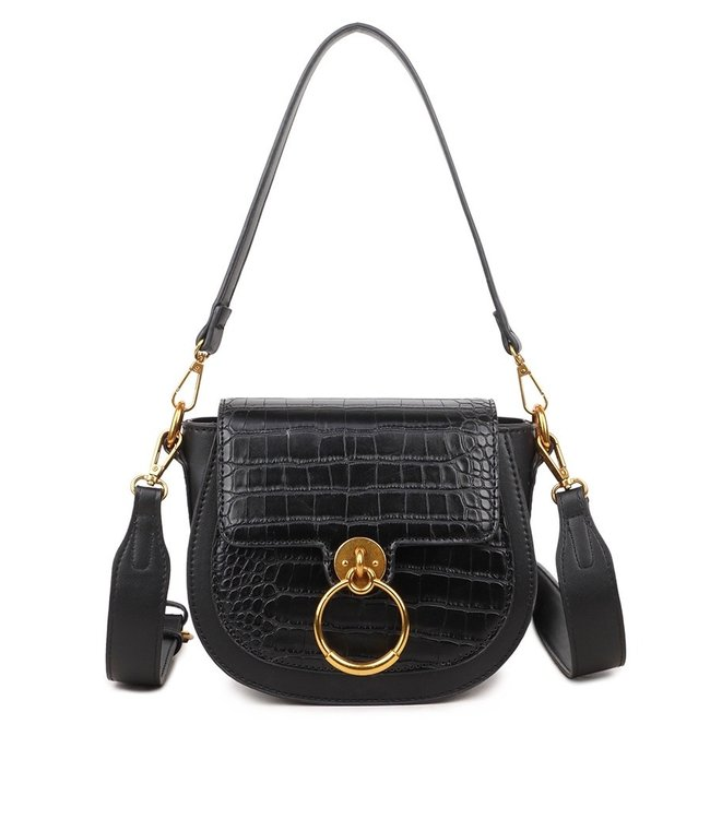 Lizzie Croco Buckle Bag / Black