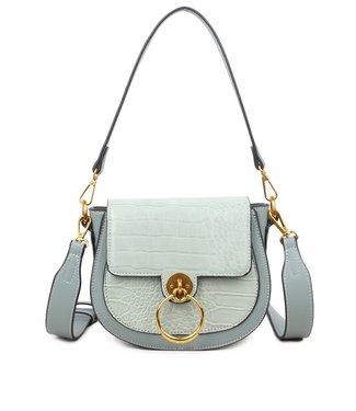 Lizzie Croco Buckle Bag / Mint Green