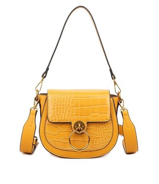 Lizzie Croco Buckle Bag / Mustard
