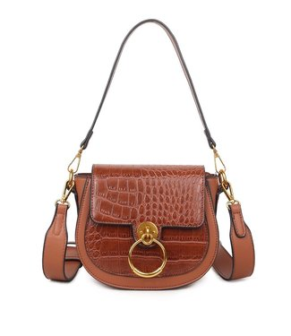 Lizzie Croco Buckle Bag / Brown
