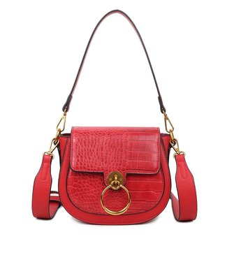 Lizzie Croco Buckle Bag / Red