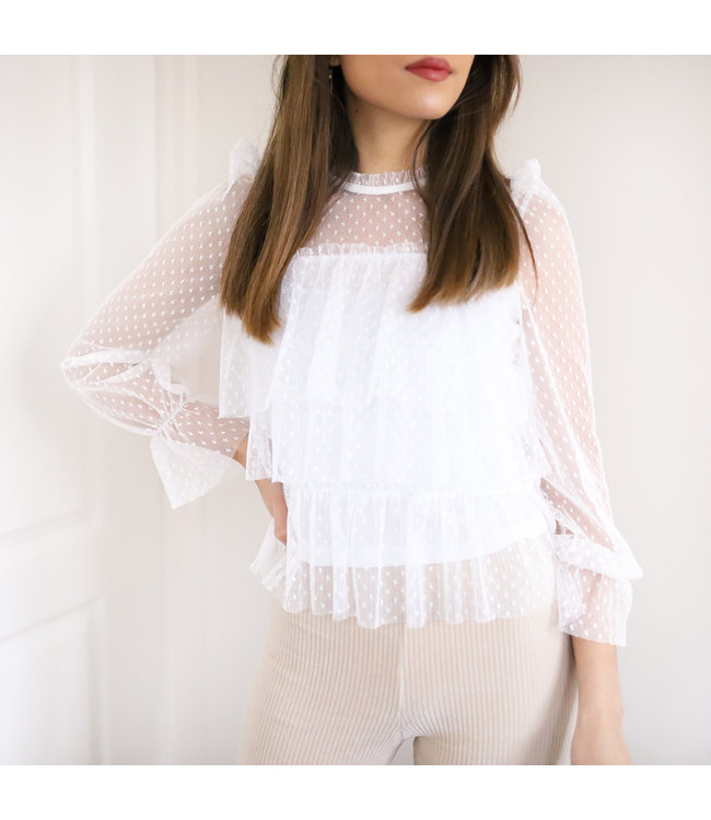 Nissa Ruffle Top / White