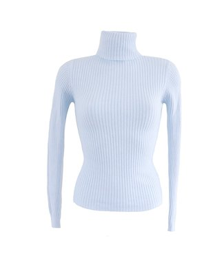 Nora Ribbed Knit / Icy Blue