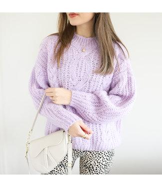 Selma Oversized Knit Sweater / Lilac