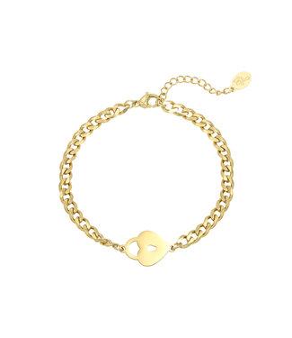 Gold Locked Heart Bracelet