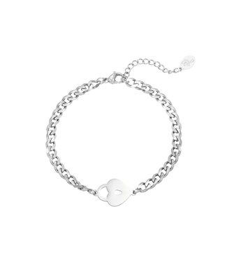 Silver Locked Heart Bracelet
