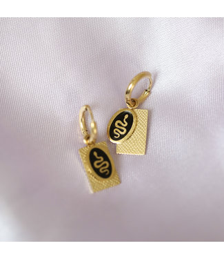 Gold Oval Snake Tag Earrings / Black
