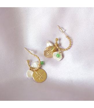 Gold Pearl Beads Coin Earrings