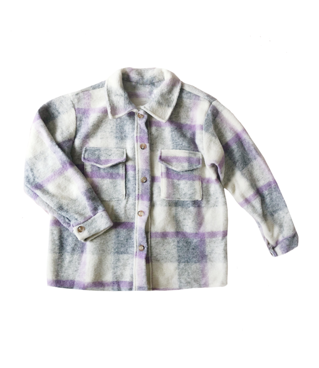 Sasha Checkered Wool Jacket / Grey & Lilac
