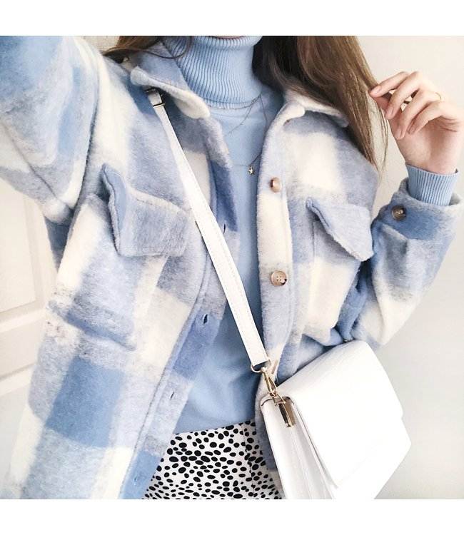 Sasha Checkered Wool Jacket / Blue