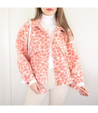 Bambi Animal Print Jacket / Peach
