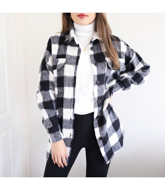 Devon Checkered Blouse Jacket / Black