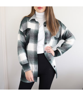 Blake Checkered Blouse Jacket / Green