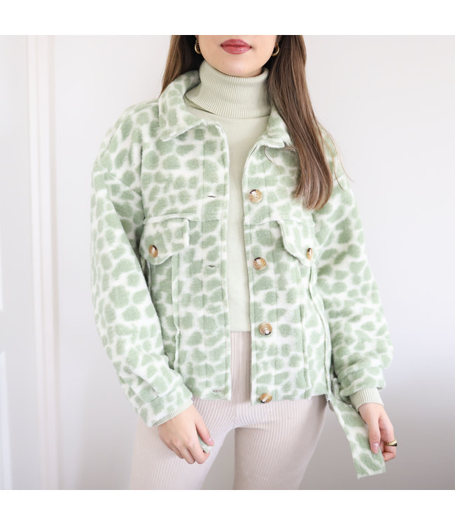Bambi Animal Print Jacket / Green