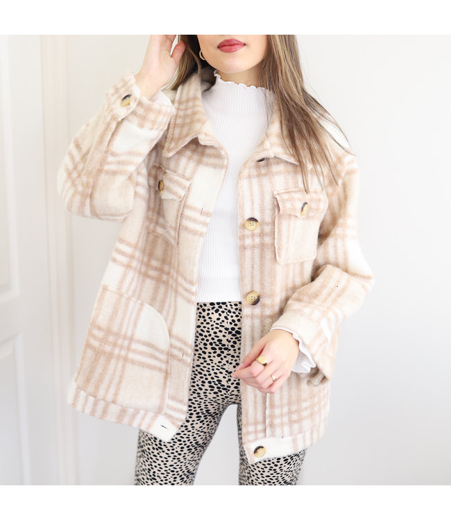 Elena Checkered Jacket / Beige
