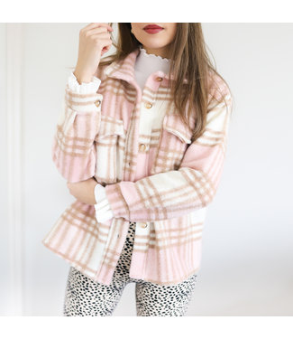 Sasha Checkered Wool Jacket / Light Pink