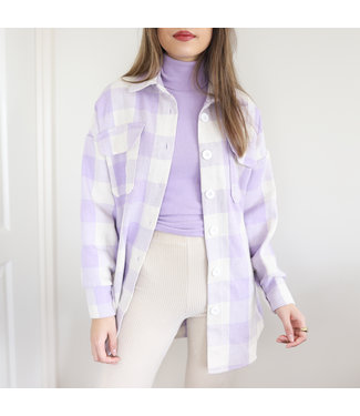 Jamie Checkered Blouse Jacket / Lilac