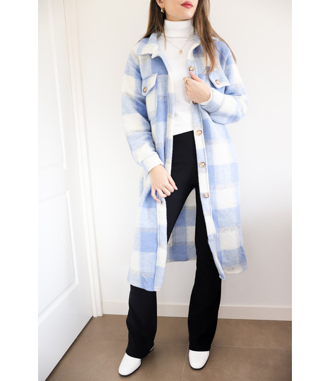 Inés Checkered Wool Jacket / Blue