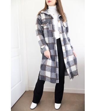 Inés Checkered Wool Jacket / Grey