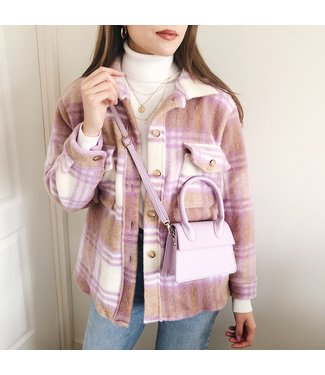 Sasha Checkered Wool Jacket / Brown & Lilac