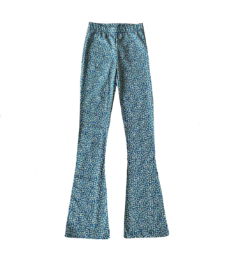 Clara Flower Flared Leggings / Blue