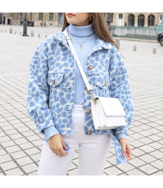 Bambi Animal Print Jacket / Blue
