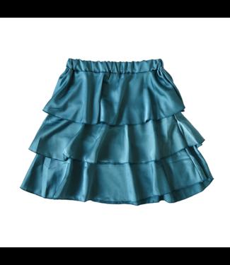 Sophia Satin Skirt / Teal Blue