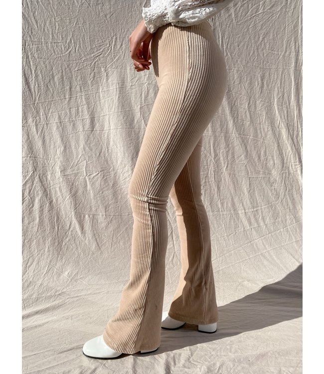 Corduroy Flared Trousers / Beige