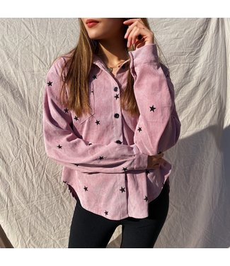Nova Printed Star Blouse / Dusty Pink