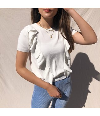 Posie Ruffle Top / White